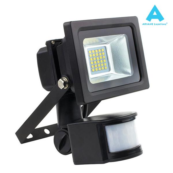 Agreable Projecteur LED Détecteur De Mouvement 10W 1200lm 4000K Noir IP66 Ariane