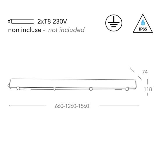 Plafonnier étanche ATLANTIC Double tube LED 2xT8 IP65 Polycarbonate 150cm