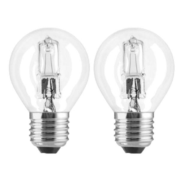 pack de 2 ampoules halog ne sph rique eco e27 28w ampoules service ampoules service. Black Bedroom Furniture Sets. Home Design Ideas