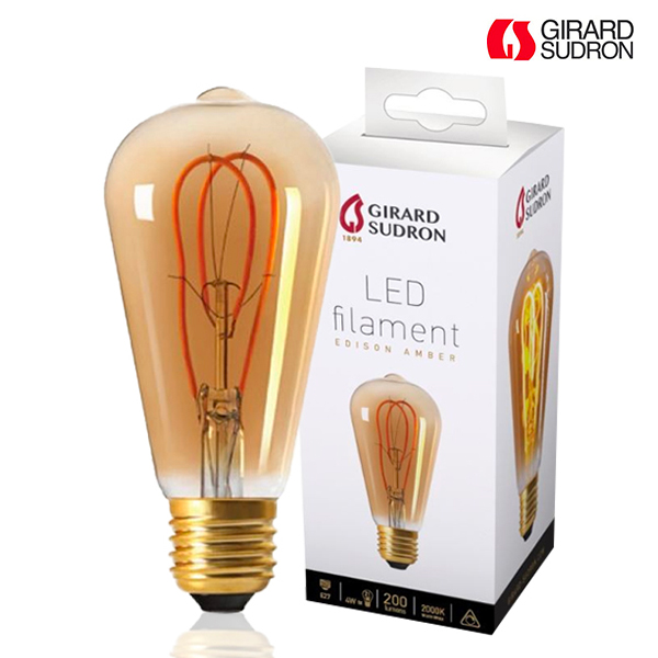 Ampoule Led A Filament E27 4w Edison Loops Ambree Dimmable Girard
