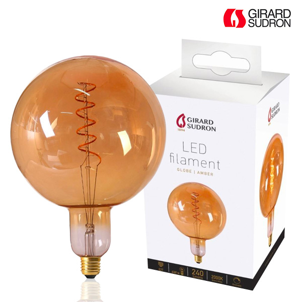 Globe à Filament LED Géant TWISTED E27 6W D200mm Ambrée Dimmable Girard Sudron
