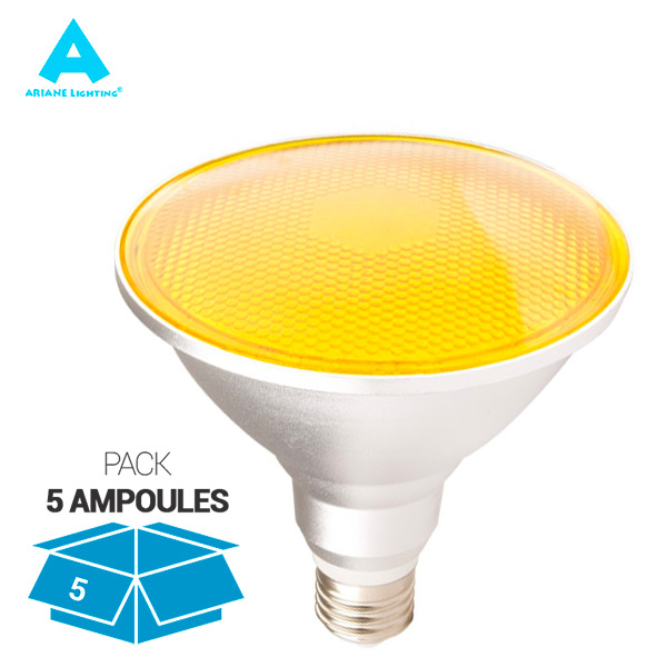 Pack 5 Ampoules LED E27 PAR38 15W Waterproof IP65 Lumière Orange Ariane