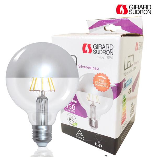 Globe à filament LED E27 8W D95 Calotte argentée Girard Sudron ...
