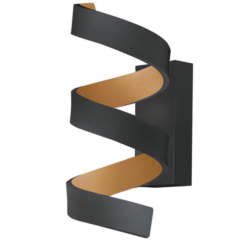 Noir En Applique Spirale Aluminium Helix Led Moderne Dorée Murale 9w Et ZOikXPuT
