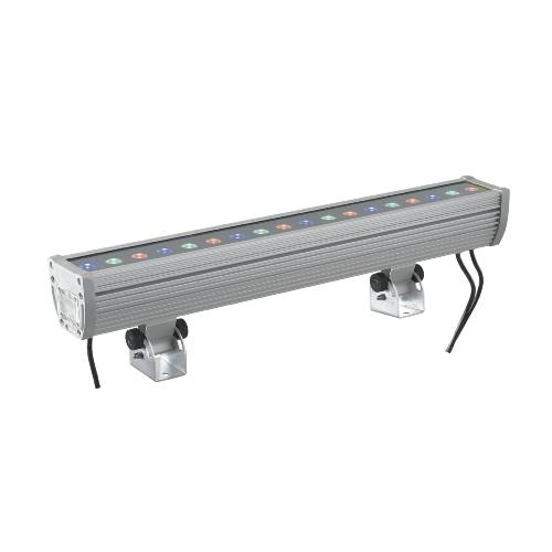 Barre LED WALLWASHER 18x2W 230V RGB 45° IP65 Full Couleur en Aluminium Gris