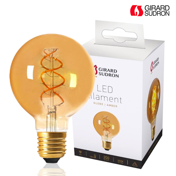 Globe à Filament LED TWISTED E27 4W D95 Ambrée Dimmable Girard Sudron