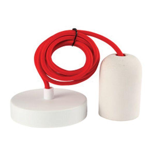 suspension b ton blanc e27 c ble textile rouge 2 m tres girard sudron ampoules service. Black Bedroom Furniture Sets. Home Design Ideas