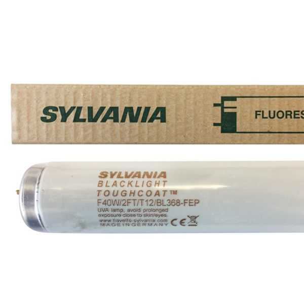 Tube fluorescent G13 T12 40W BlackLight BL368 Toughcoat Sylvania