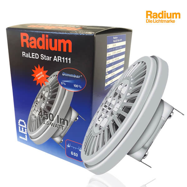 Réflecteur RaLED Star G53 AR111 8.5W 2700K 24° 450lm Dimmable Radium