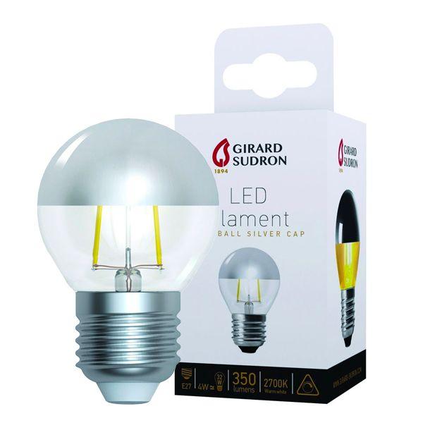Ampoule LED à filament Sphérique E27 4W Calotte argentée Girard ...
