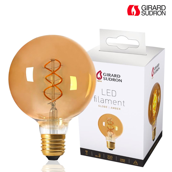 Globe à Filament LED TWISTED E27 4W D125 Ambrée Dimmable Girard Sudron