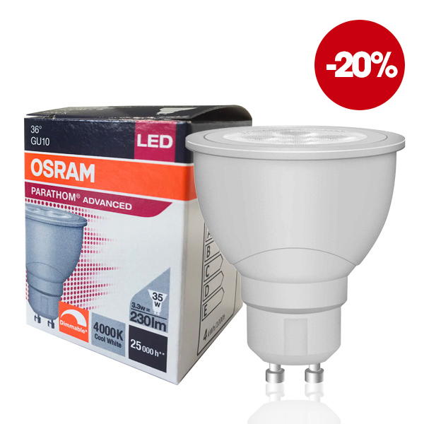 Ampoule LED GU10 Parathom Advanced 3.3W 4000K 36° dimmable Osram