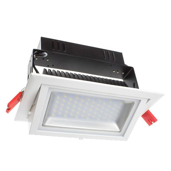Projecteur led rectangulaire orientable 28w 3000k blanc for Projecteur led interieur