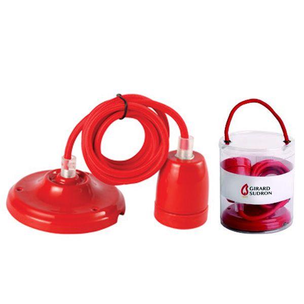 suspension c ramique rouge e27 c ble textile rouge 2 m tres girard sudron ampoules service. Black Bedroom Furniture Sets. Home Design Ideas