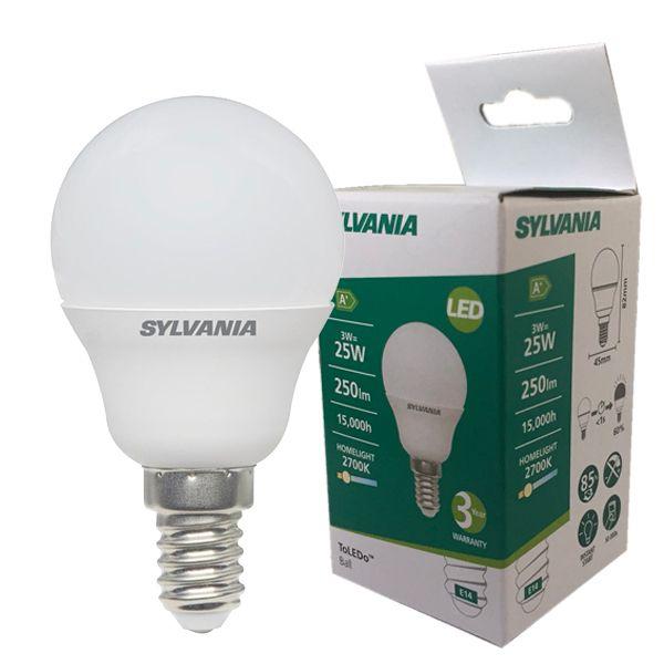 ampoule led toledo e14 3 2w 250lm sph rique d polie sylvania ampoules service. Black Bedroom Furniture Sets. Home Design Ideas