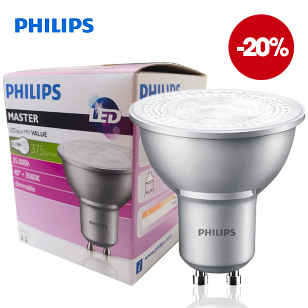 Réflecteur Master LEDSpot GU10 4.3W 3000K 220V 40° Dimmable Philips