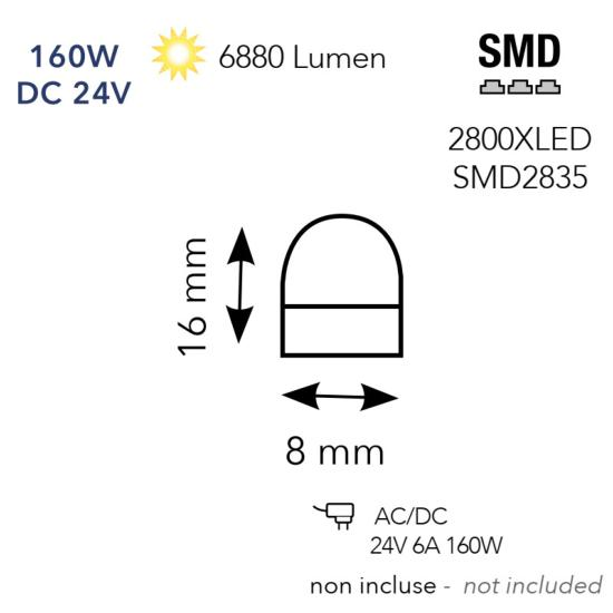 Néon LED 240W DC 24V 24000lm Rouge IP65 Blanc 20 mètres de long