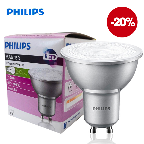 Réflecteur Master LEDSpot GU10 3.5W 4000K 220V 40° Dimmable Philips