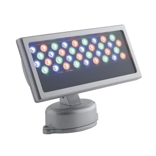 Projecteur LED RAYS 36x1W 230V RGB 45° IP65 Full Couleur en Aluminium Gris