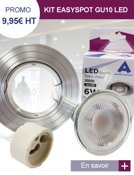 Kit EasySpot LED GU10 Encastrable 6W Blanc chaud 38° Aluminium Ariane