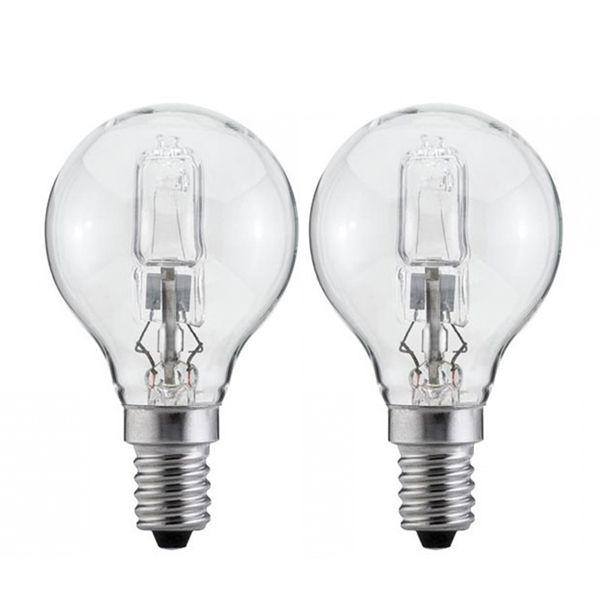 pack de 2 ampoules halog ne sph rique eco e14 42w 2800k ampoules service ampoules service. Black Bedroom Furniture Sets. Home Design Ideas