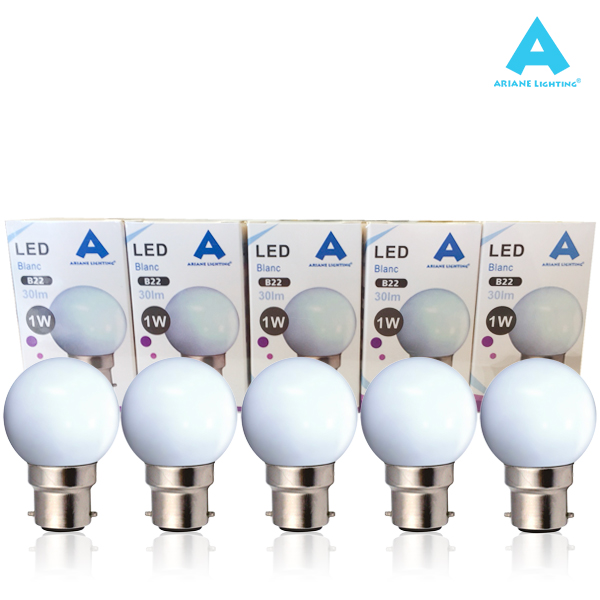 10 LED bulb pack B22 1W Spherical White Ariane