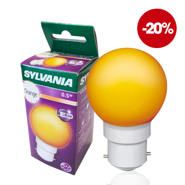 Ampoule LED B22 Sphérique 0.5W Orange IP44 Sylvania