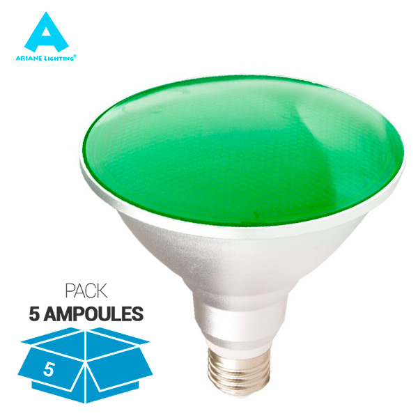 Pack 5 Ampoules LED E27 PAR38 15W Waterproof IP65 Lumière Verte Ariane