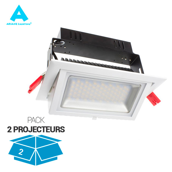 Pack de 2 Projecteurs LED Rectangulaire Orientable 38W 3000K Blanc IP20 Ariane