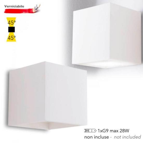 1 G9 Plâtre Applique Murale Rubik Personnalisable Blanc 45° Carrée En Lampe 3qcjR5AL4