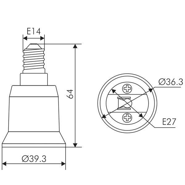 adaptateur douille e14 vers e27 blanc girard sudron ampoules service. Black Bedroom Furniture Sets. Home Design Ideas
