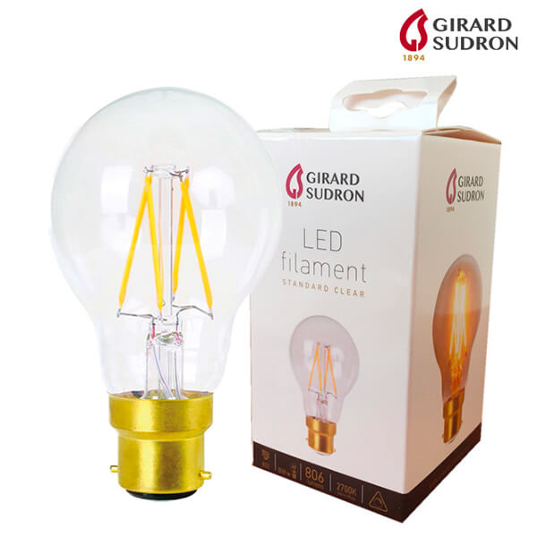 Ampoule LED à filament B22 8W 2700K Satinée Dimmable Girard Sudron