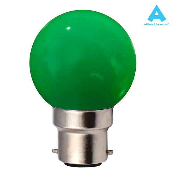 ampoule led b22 sph rique 1w vert ariane ampoules service. Black Bedroom Furniture Sets. Home Design Ideas