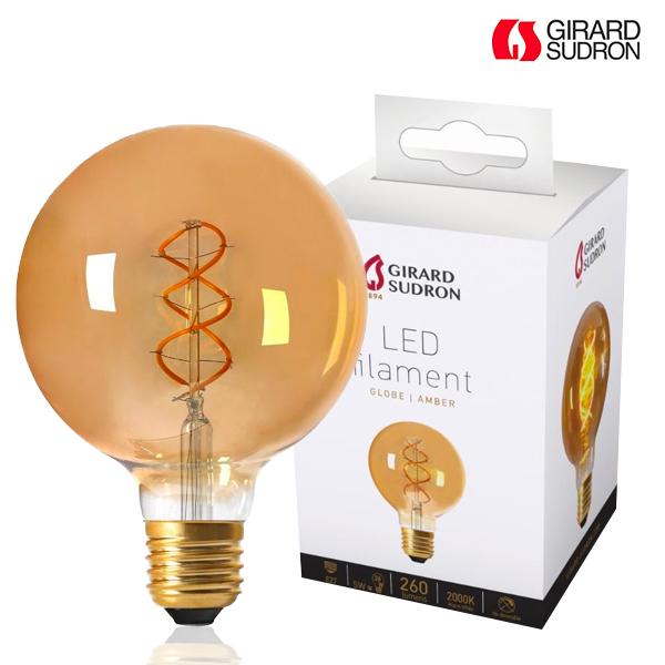 Globe A Filament Led Twisted E27 5w D125 Ambree Girard Sudron