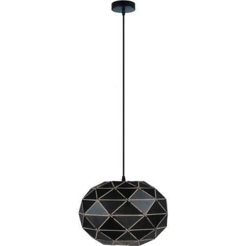 Suspension E27 design graphique Ø35cm en métal noir forme ovale